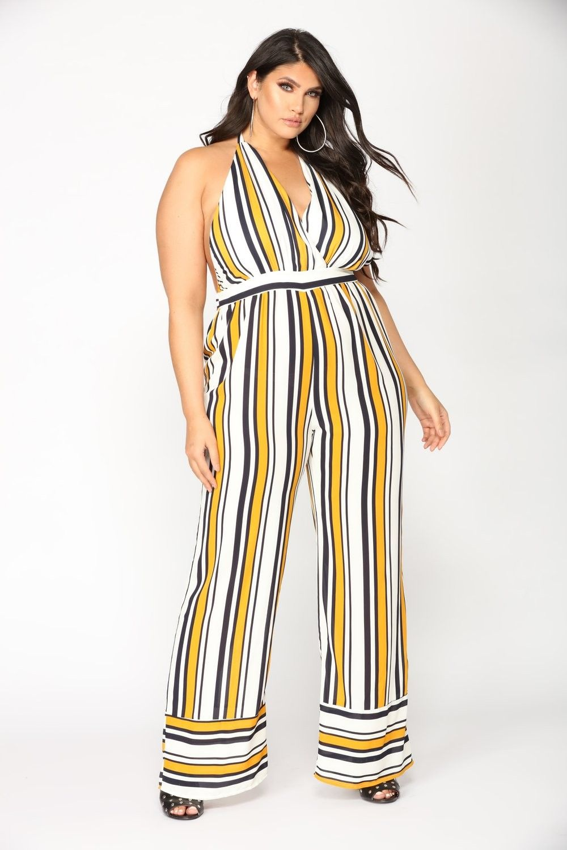 c779fd190e11 Plus Size Sidelines Stripe Jumpsuit - Mustard  22.97  ootd  style  fashion   streetstyle