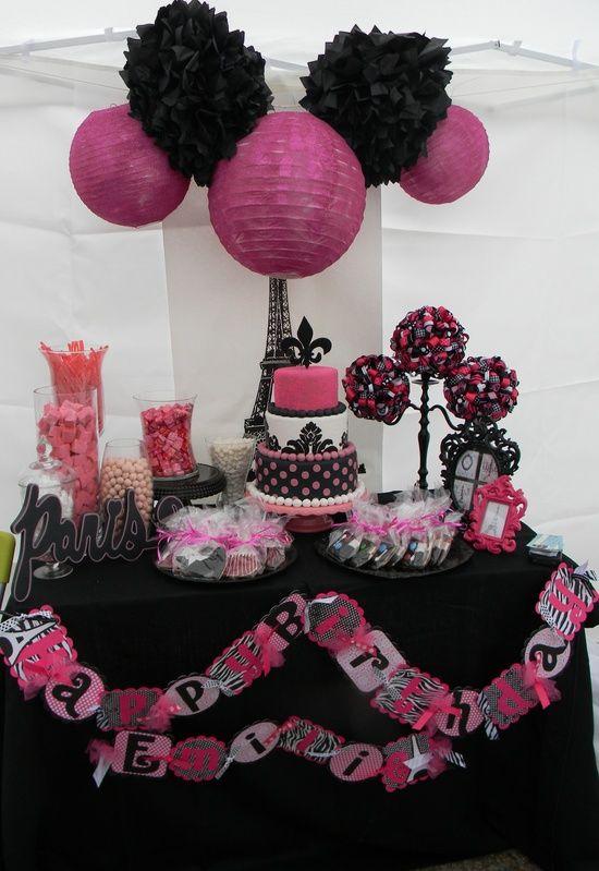 Black White Pink Paris Little Girl Birthday Party Set Up Paris Birthday Parties Paris Party Paris Theme Party