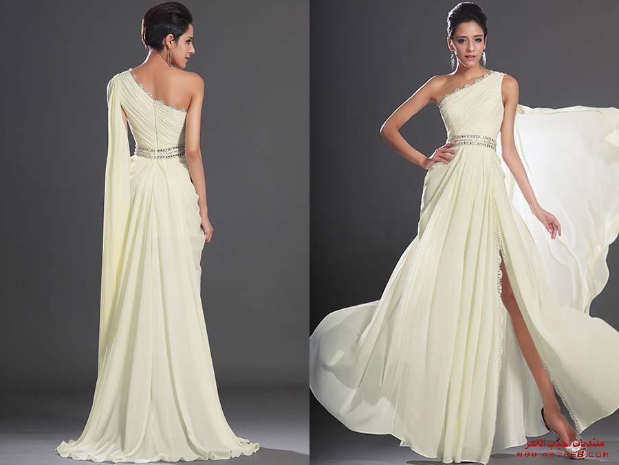 فساتين سهرة طويلة موديلات فساتين طويلة خريف صور فساتين سهرة طويلة منتديات أحباب العمر One Shoulder Wedding Dress Wedding Dresses Dresses