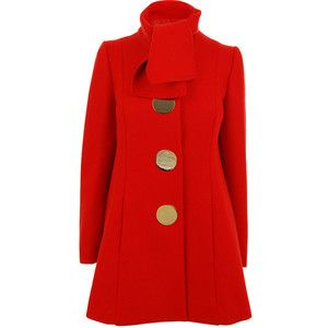 Red coat! Love the big buttons, but I think I'd like them better in silver.