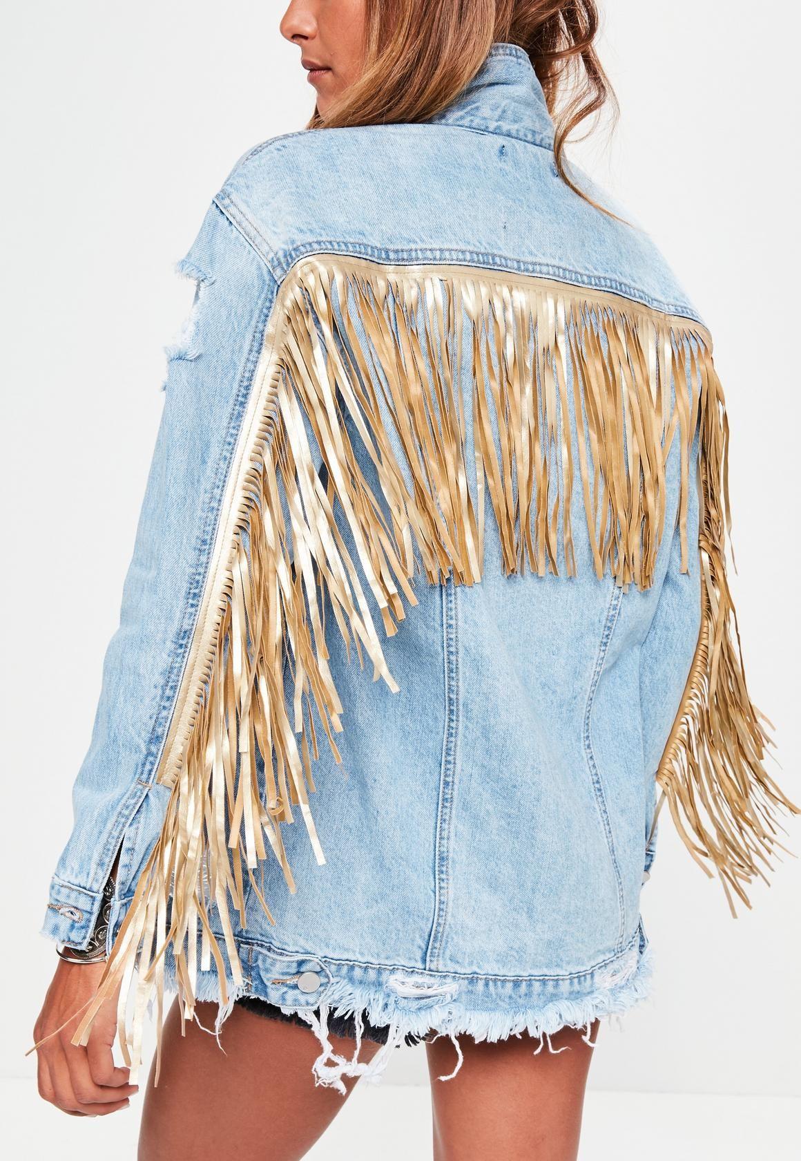 great prices best online big discount Missguided - Blue Ripped Gold Fringe Denim Jacket | Diy denim ...