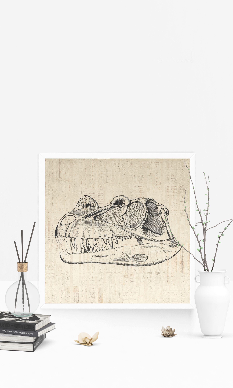 Dinosaur skull trex tyrannosaurus rex dinosaur bones poster or