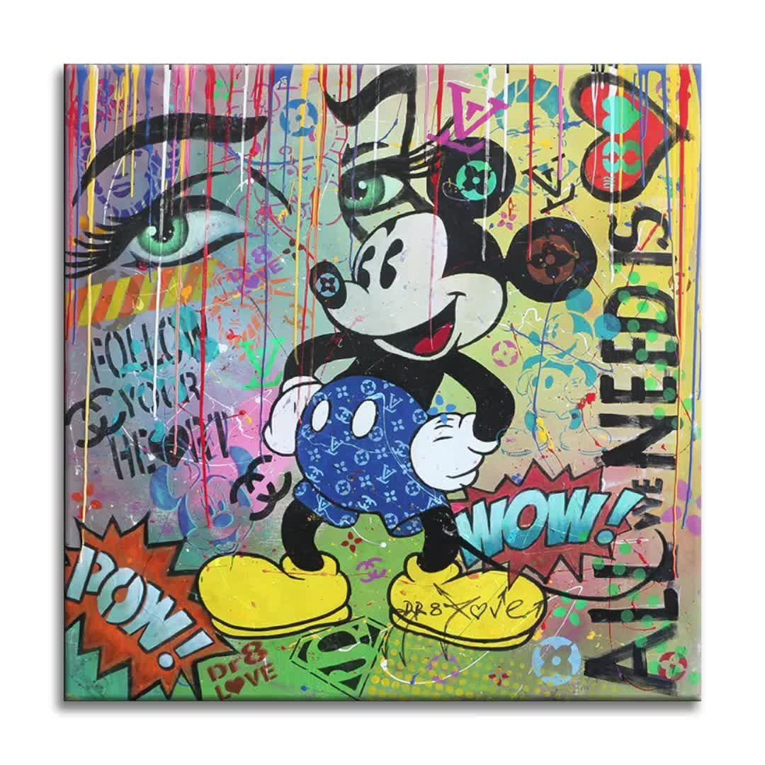 Original Painting on Canvas 40x40in.  . 4 sale at👇 dr8love.com . #artdealer #artdaily #interiordesign #comics #artlover #popart #popartist #dr8love #originalart #mickeymouse #saatchiart #luxury #artbaselmiami #miami #nyc #streetart #originalart #chanel #dailyart #instaart