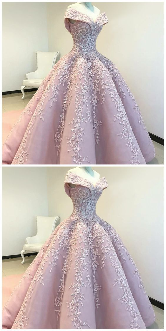 Off The Shoulder Ball Gown Pink Long Prom Dress With Appliques Prom Dresses Long Pink Prom Dresses Ball Gown Gowns