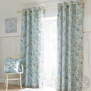 Summer Floral Eyelet Curtains Duck Egg Blue Allium Lined Ring