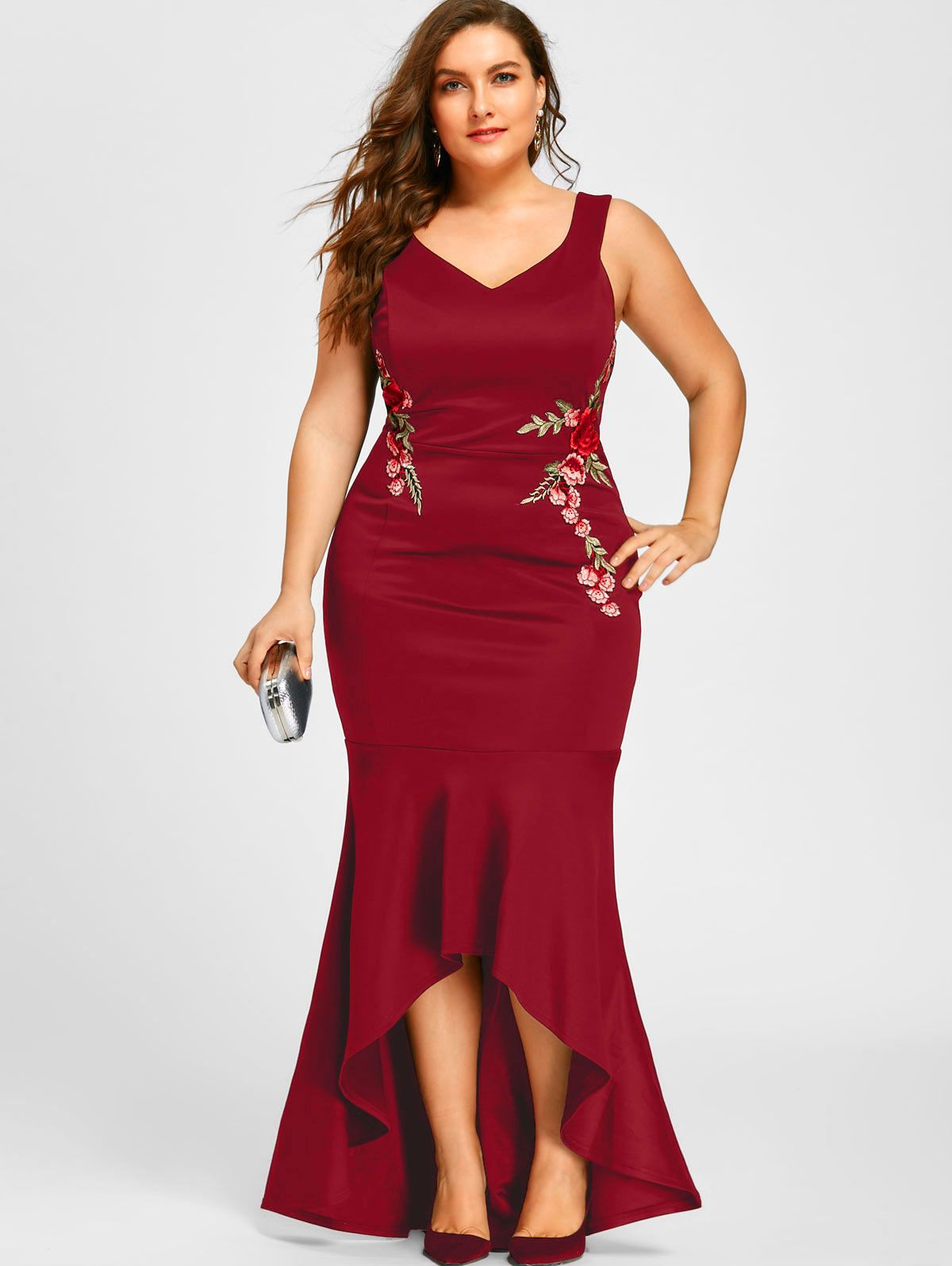 a78d3f854bbd8 Plus Size Embroidery Roses Mermaid Maxi Dress in 2019 | Women's ...