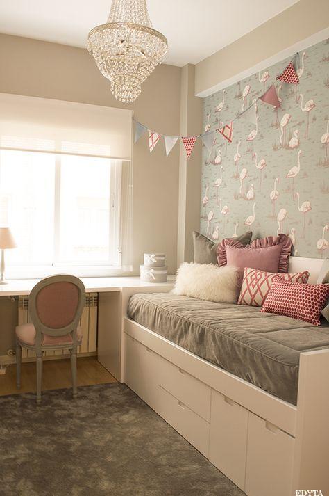 Escritorio y cama nido en l silla pintada chalk paint - Decoracion de dormitorios pequenos ...