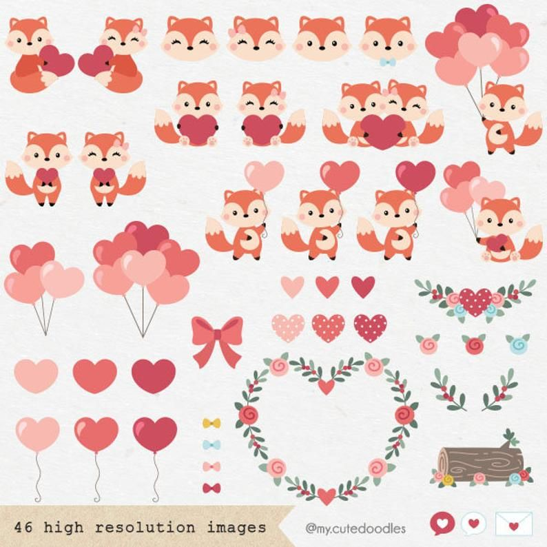 Valentines Day Clipart Woodland Animals Cute Fox Love Etsy Cute Doodles Drawings Valentines Day Clipart Vintage Scrapbook