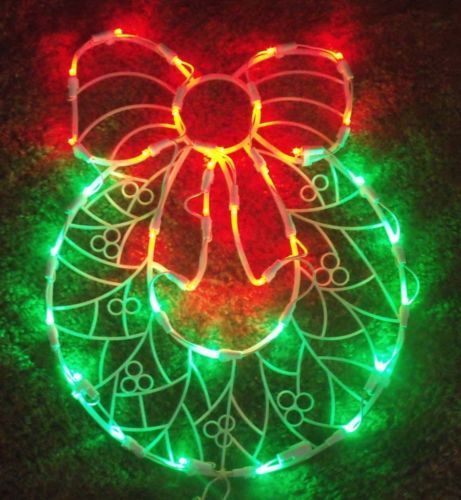 CHRISTMAS LED OUTDOOR LIGHTED DOOR WREATH BOW SIGN WINDOW YARD ...