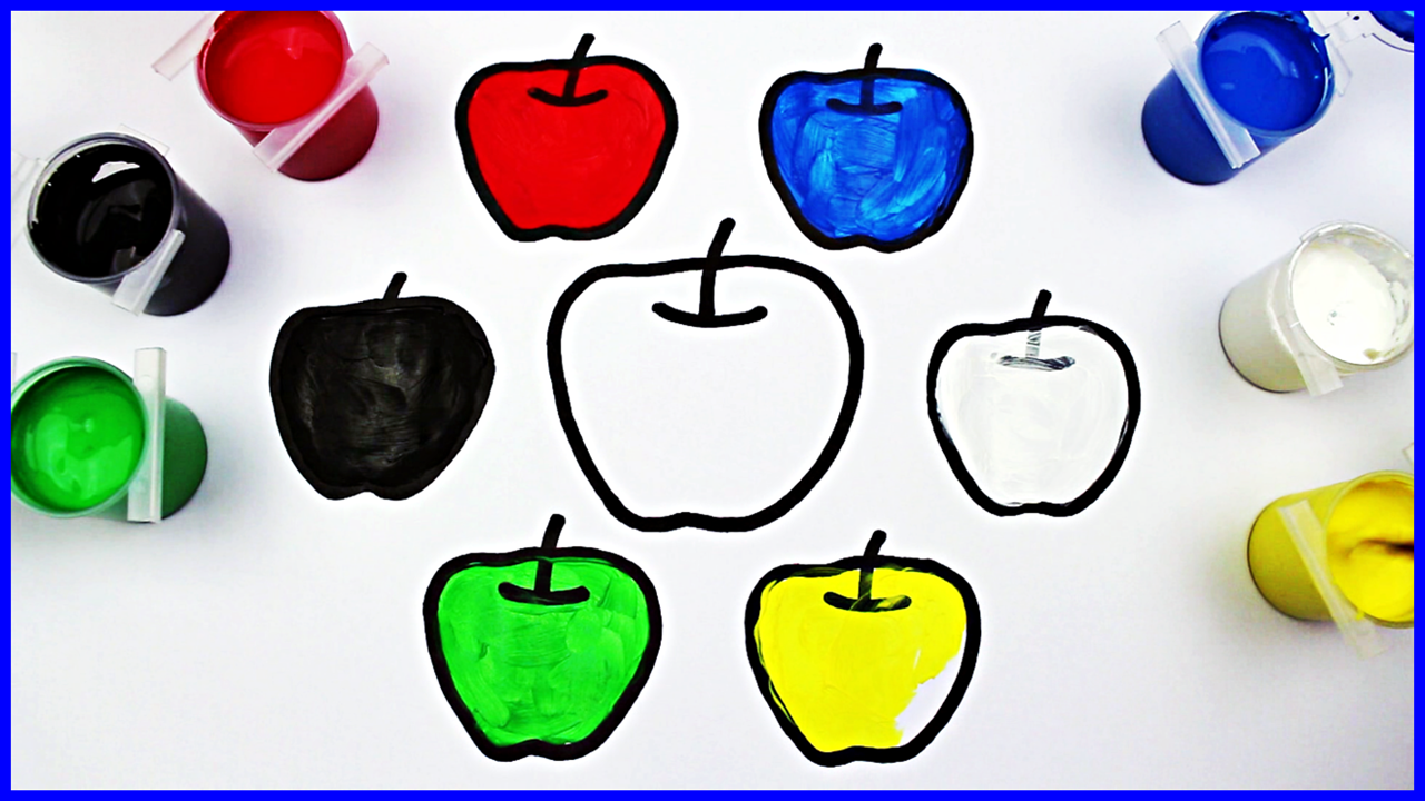 Coloring For Children To Learn Colors And Paint This Apple How To Paint Apple