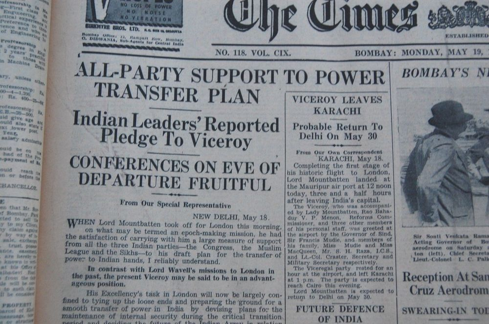 Partition Of India Indian Leaders Power Transfer Viceroy Karachi 19 May 1947 Leader Karachi Power