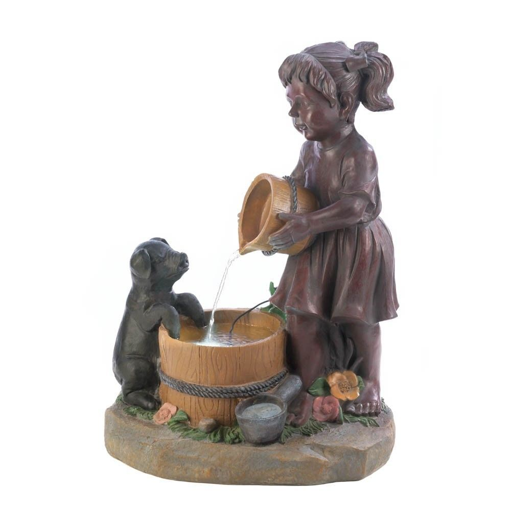 little girl giving bucketful water to pup lighted outdoor garden fountain - Fountain For Home Decoration