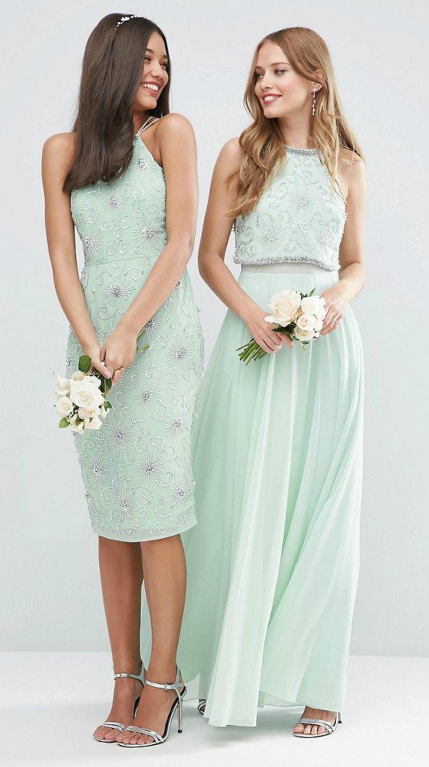 Asos Wedding Embellished Crop Top Maxi Dress At Asos Com Mint Bridesmaid Dresses Pastel Bridesmaid Dresses Mint Green Bridesmaid Dresses