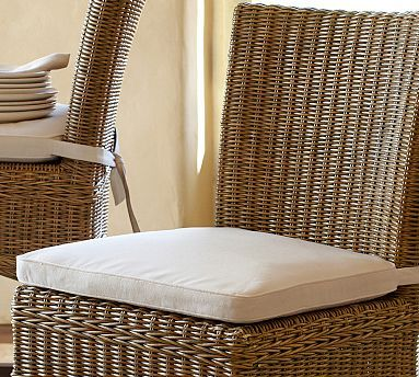 Wicker Chair Cushions With Ties Dining Room Slip Covers Uk Jacquelyne Cushion Potterybarn 49 Has Long That Go Around The Back 18 75 Wide And 1 4 Deep