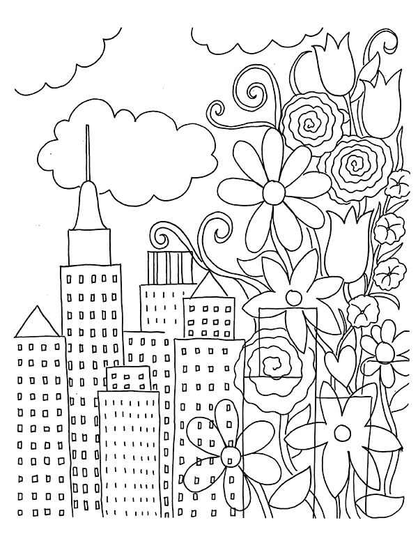 Free Coloring Book Page Download: Urban Flowers | Coloring books ...