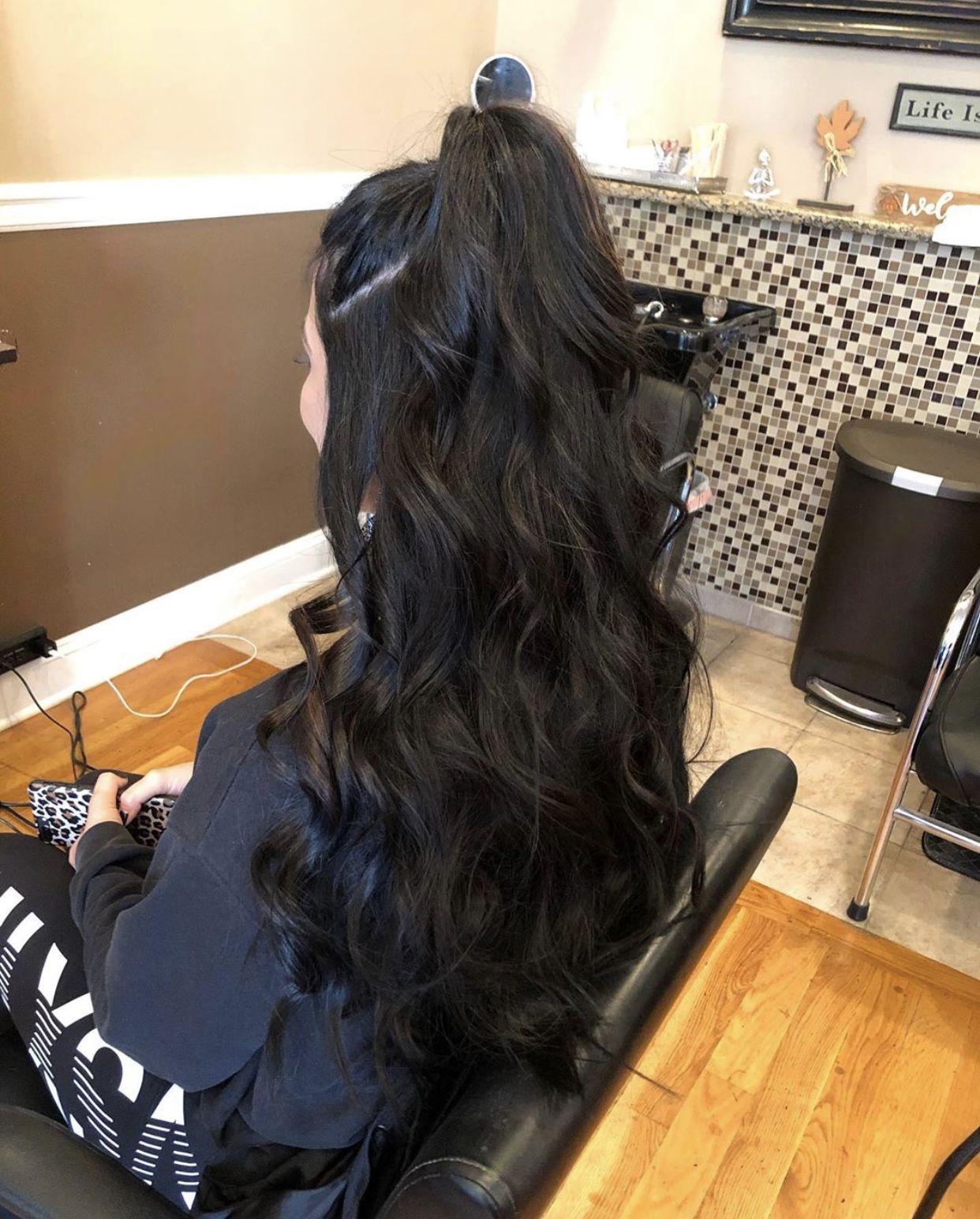 Half up half down, curled. Dark brown hair for wedding ...