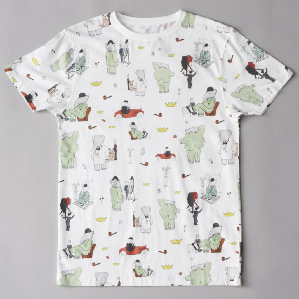 Babar Tailor White Allover Printed T-shirt