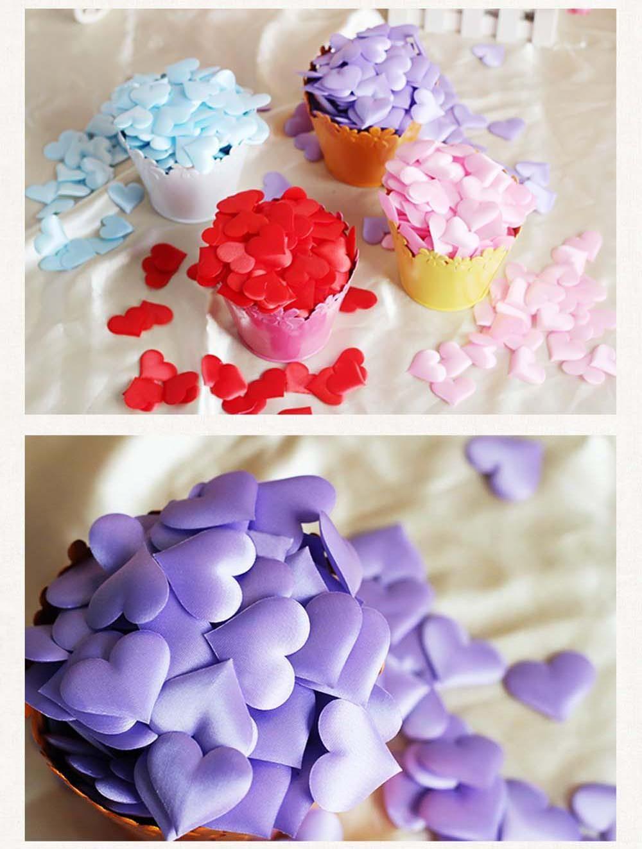 GUH 100pcs/lots 3*3cm Heart Petals Wedding Decorations Satin Heart ...