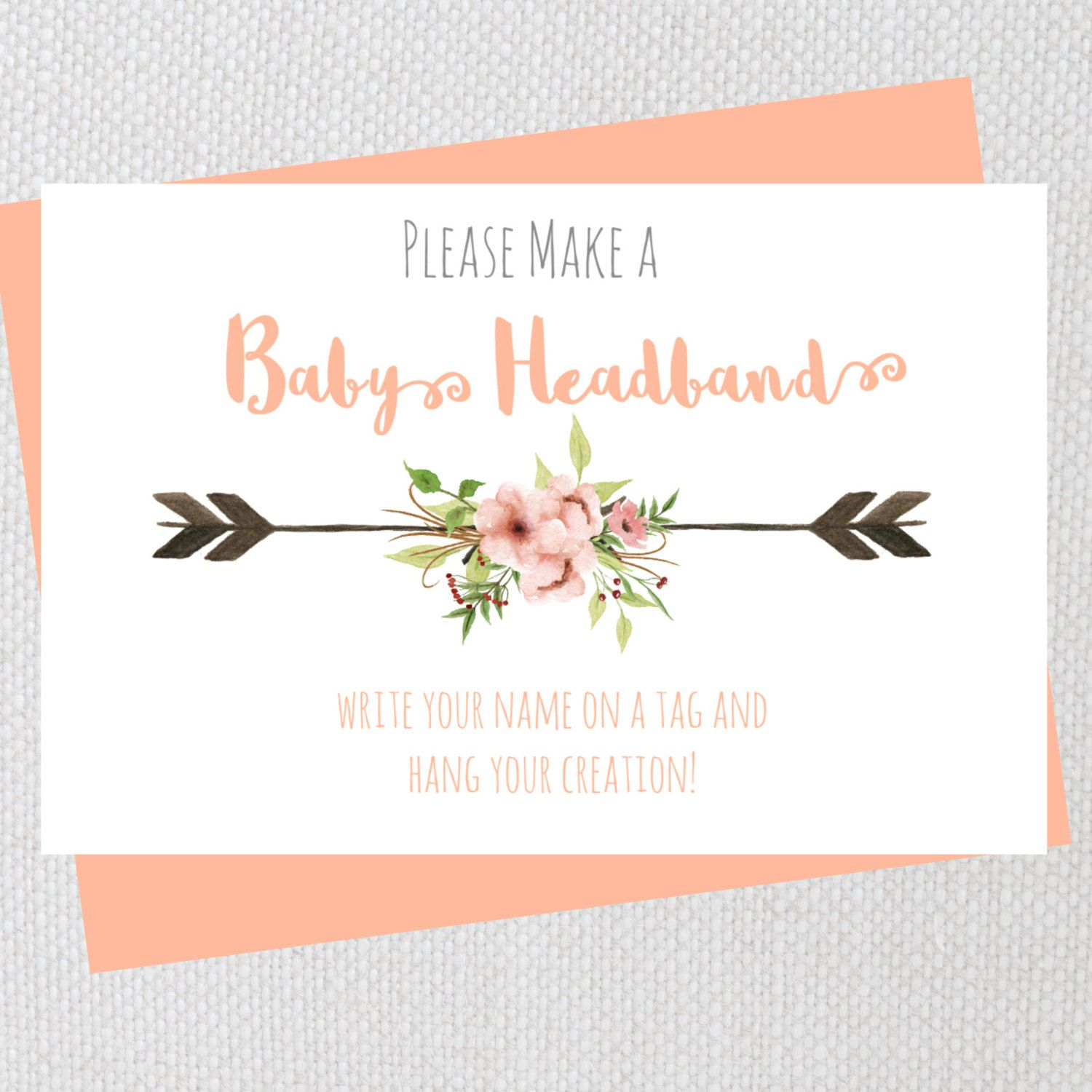 Headband Sign Printable Floral Baby Shower Headband Station Sign