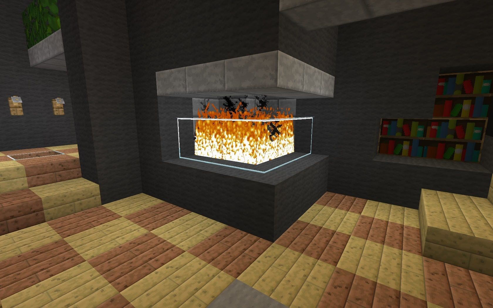 Corner Compact Fireplace Minecraft Building Ideas Modern Part 76