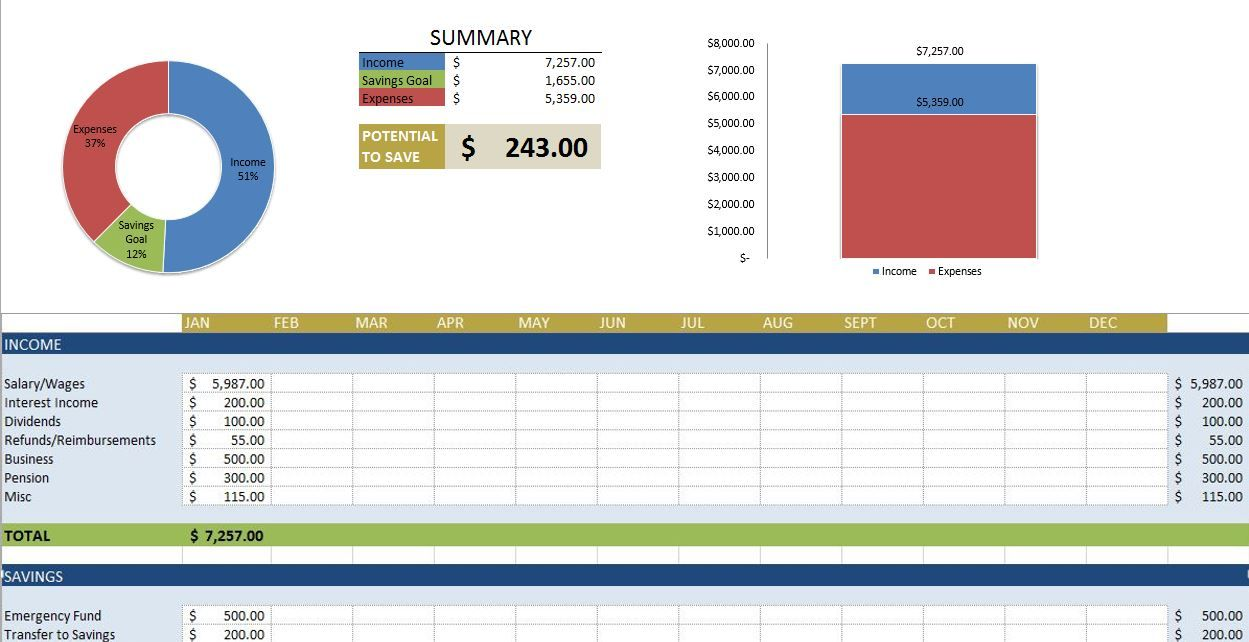 Free Budget Templates in Excel for Any Use | Household / organizing ...