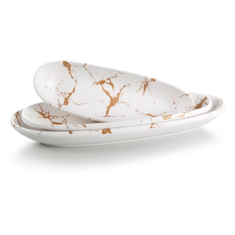 12 5 Inch Marble White Melamine Restaurant Oval Deep Plate 27013bj