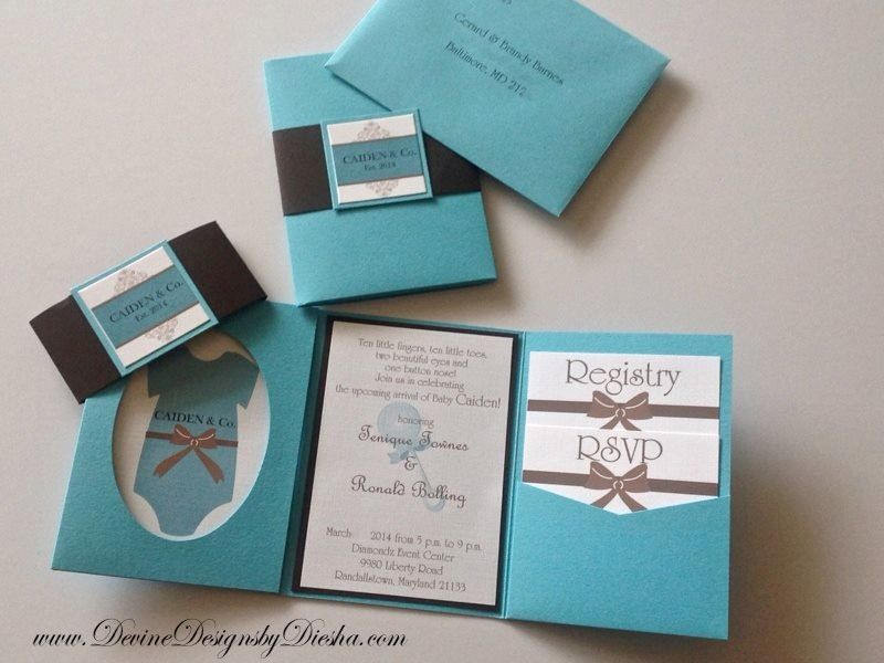Tiffany Blue & Brown pocket fold baby shower invitations ...