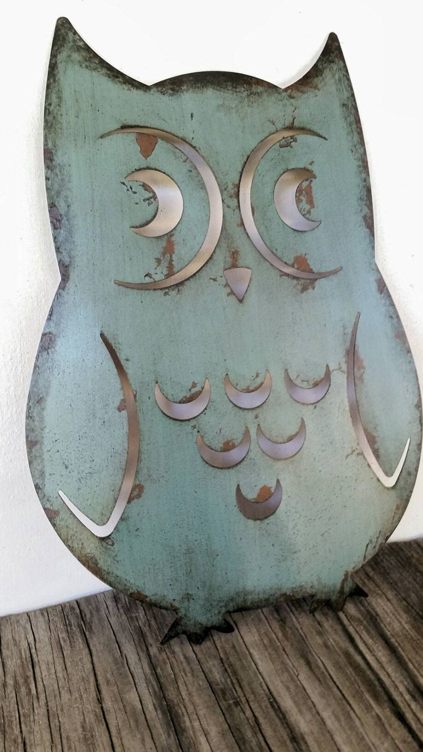 BOLD laser cut metal owl kitchen wall art brick // slate blue ...