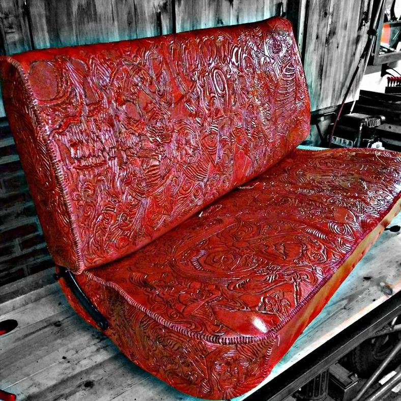 Misfitskinny Kustoms Leather Bench Seat Custom Car Interior Leather Upholstry
