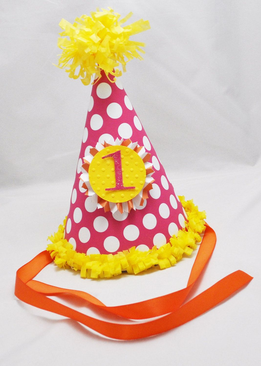 1st Cupcake First Birthday Party Polka Dot Cute Birthday Party Favor Cone Hats