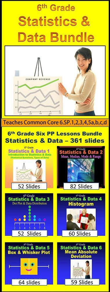 6th Grade Statistics & Data Bundle - 6 Powerpoint Lessons - 361