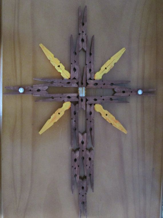 Clothespin Cross with a star accent Wall Hanging by ...