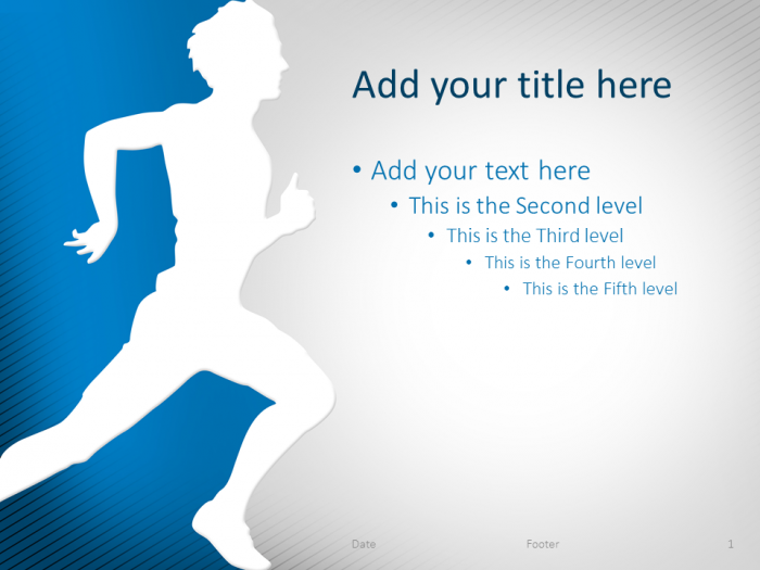 Running powerpoint template blue presentationgo template runner on a yellow and gradient grey background this free presentation template contains 1 slide toneelgroepblik Choice Image