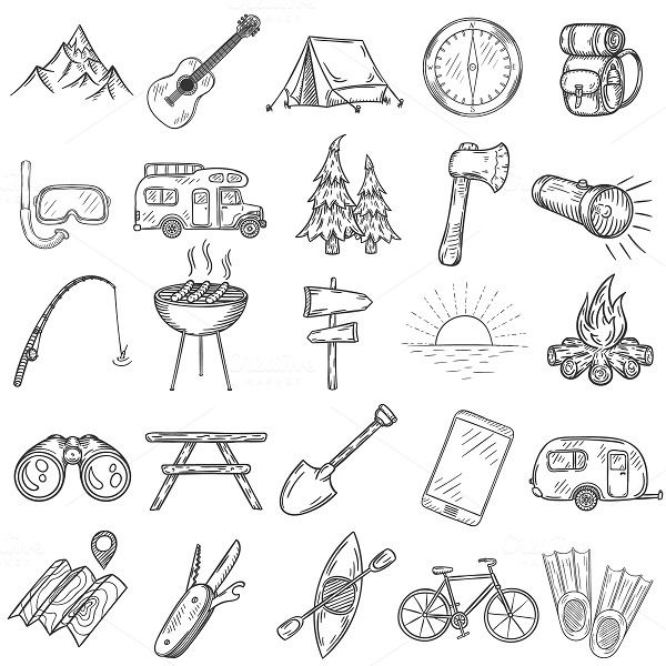 Set of doodle camping icons. by Lazy Clouds on @creativemarket #augustbulletjournal