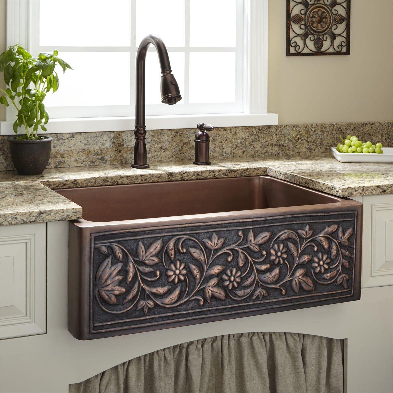 30 vine design copper farmhouse sink