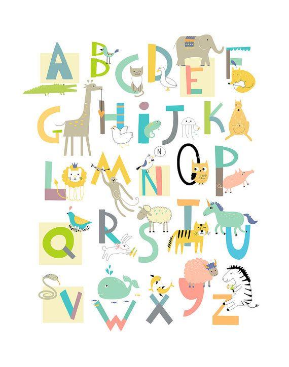 Dieses Alphabet Druck verwendete weiche geschlechtsneutrale Farbe ...