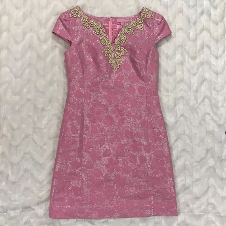 Nwot Lilly Pulitzer Pink& Silver Floral Gold Dress