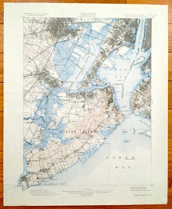 Antique Staten Island New York City 1900 Us Geological Survey