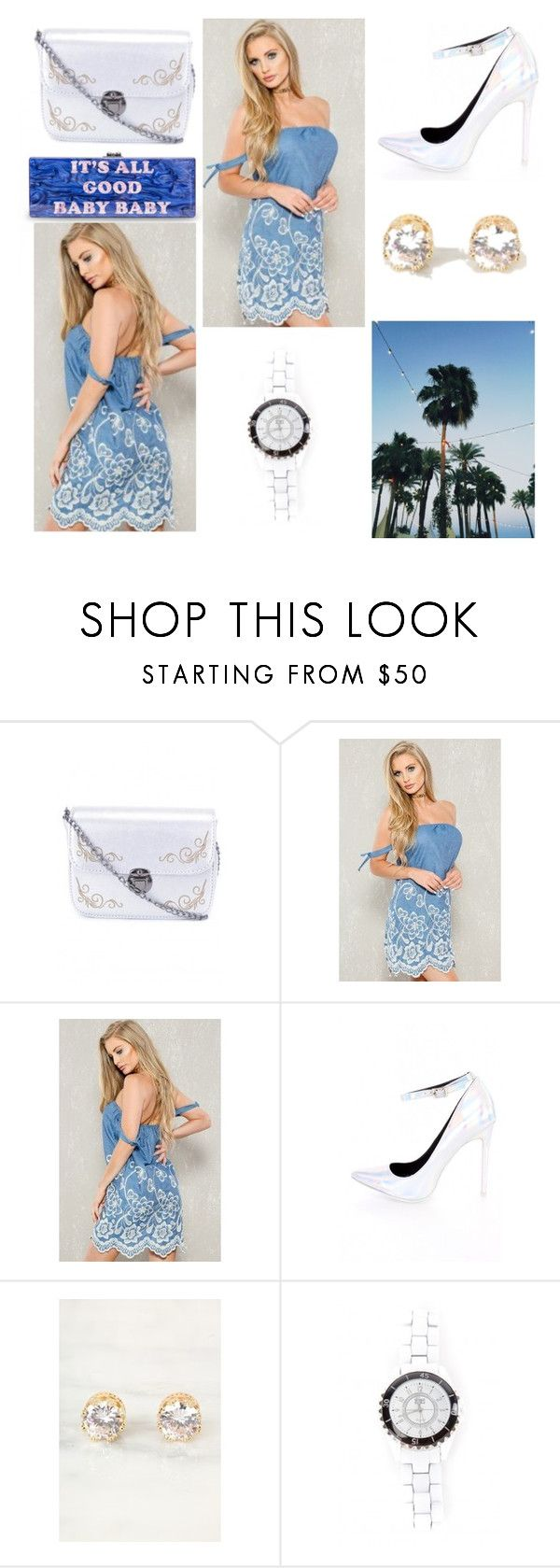 """The Good Life"" by amiclubwear ❤ liked on Polyvore featuring crossbodybag, diamondearrings, amiclubwear and denimfloraldress"