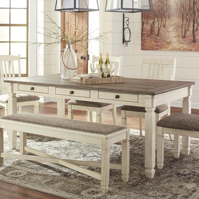Signature Design By Ashley Bolanburg Table In Antique White And Gray Gameroom Counter Height Dining Room Tables Dining Table Counter Height Dining Table