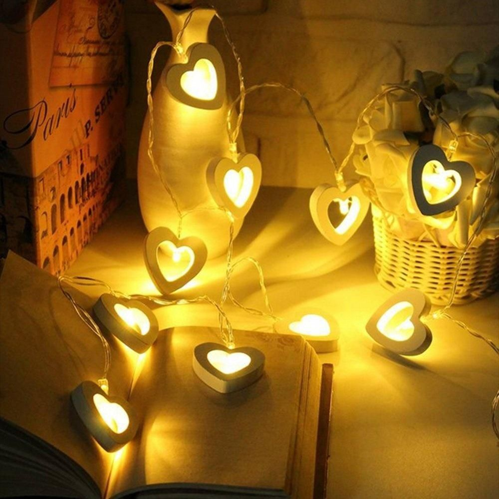 10 Led Warm Wooden Heart Shape String Fairy Lights Fairy String Lights Led String Lights Hanging String Lights