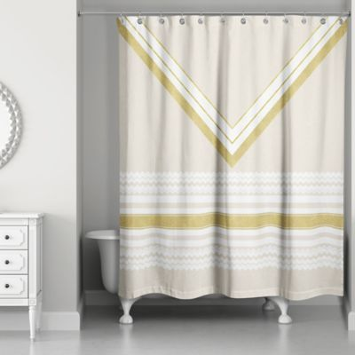 Chevron Layer Shower Curtain In Ivory Gold Curtains Shower