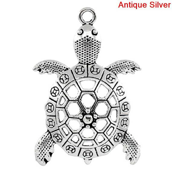 4 TORTOISE Turtle Large Charm Pendant  Silver Hollow Turtle