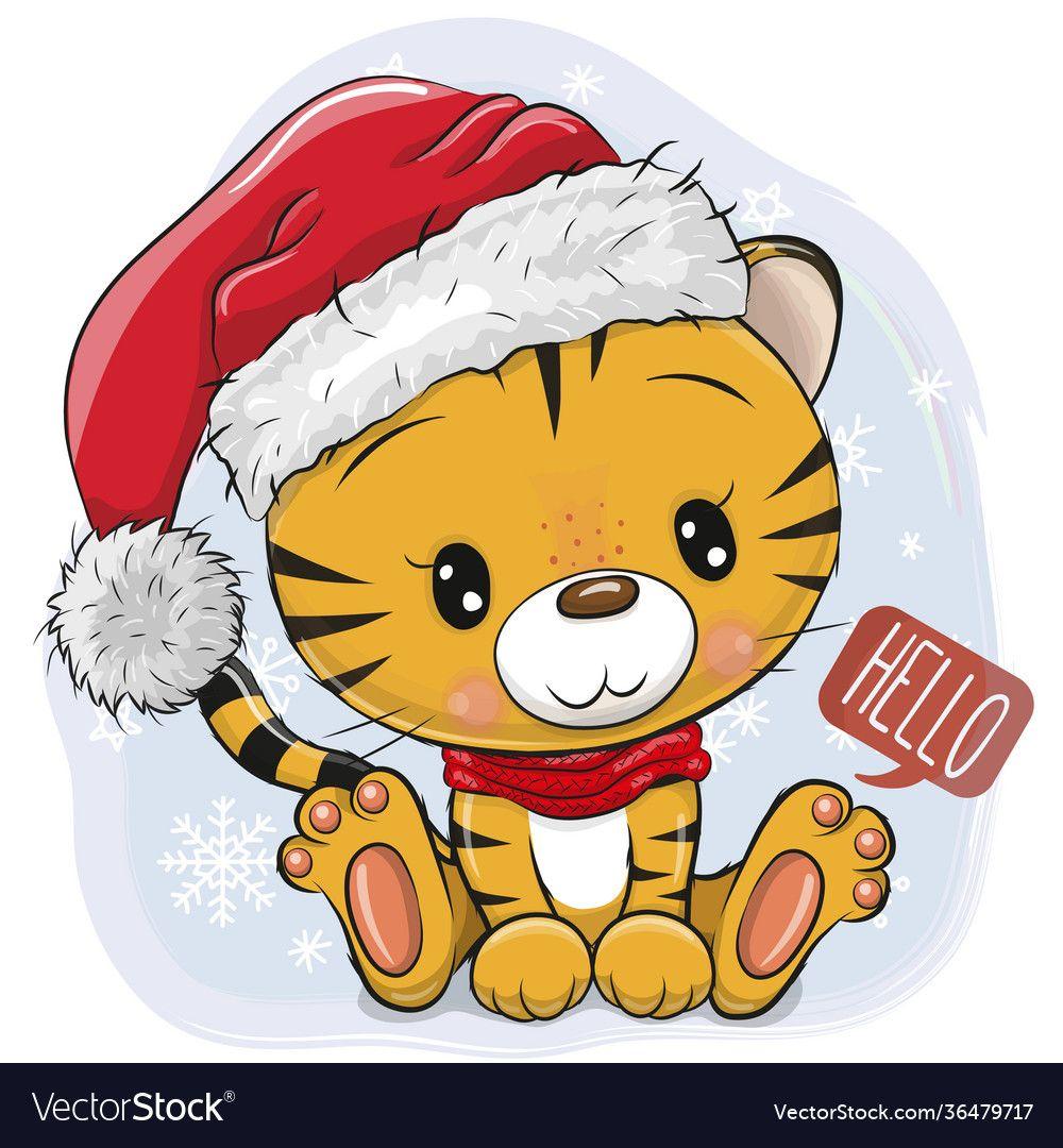 Cartoon tiger in santa hat on a blue background vector image on VectorStock