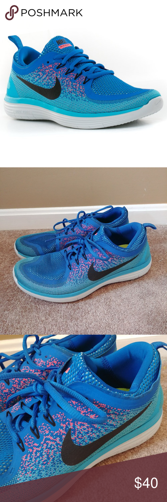 ad604c42643f Men s Nike Free Run Distance 2 Running Shoe Blue Size Men s 11. Very good  condition