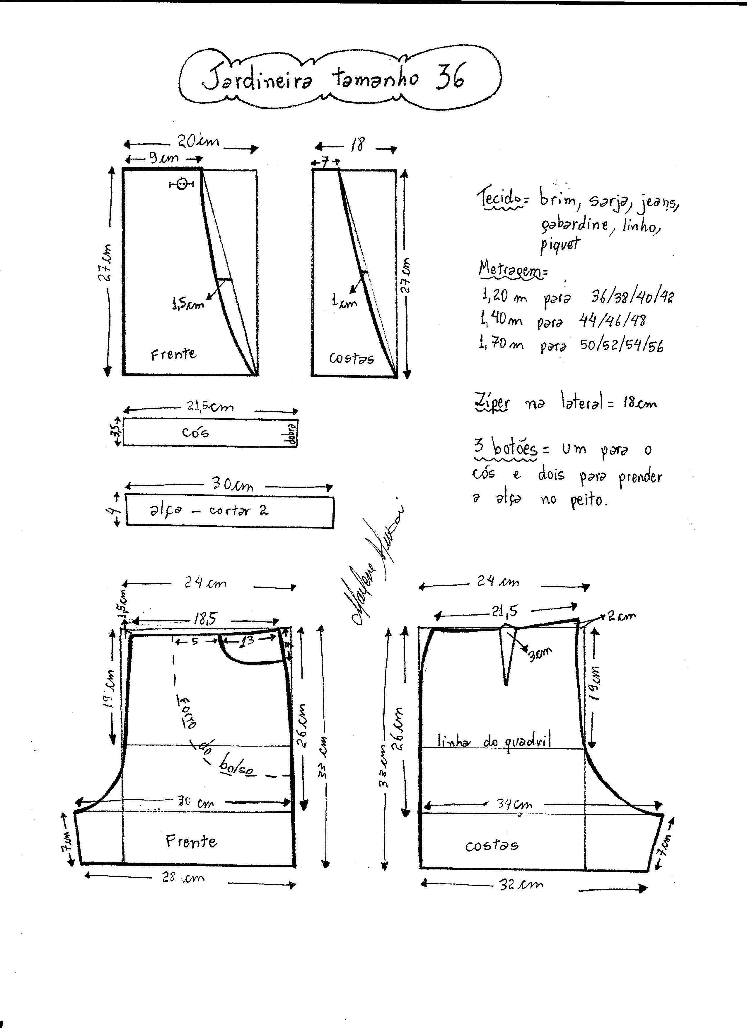 Patrón peto vaquero corto de mujer | levis | Costura, Patrones y Moldes