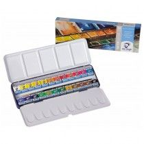 Van Gogh Water Colour Set Metal 20m8624 24 Artists Pan Watercolour