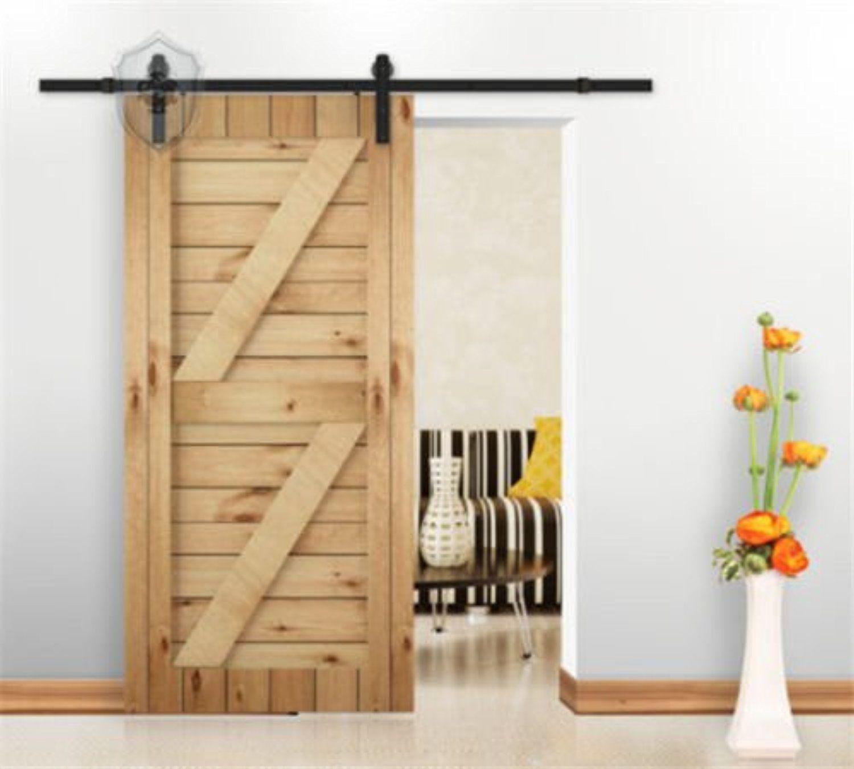 9 things to consider when installing a barn door - Kirin Dbu New Classic 9ft Barn Door Hardware Black Sliding Track For Single Wood Door 7