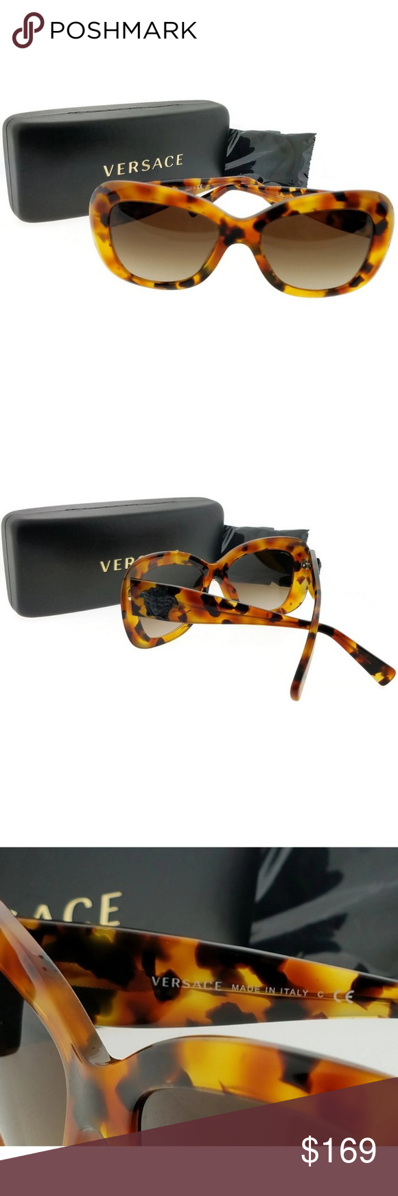 VE4317-260-13-54 Women's Tortoise Frame Sunglasses New gorgeous authentic Versace VE4317-260-13-54 tortoise frame/ brown lens 54mm sunglasses with stylish look new in box. Versace is a fashion and lifestyle brand for contemporary men and women who love glamorous luxury and distinctive personal style. Versace glasses collection's refined and innovative design is a celebration of timeless exclusivity and fashion forward elegance. Versace Accessories Sunglasses