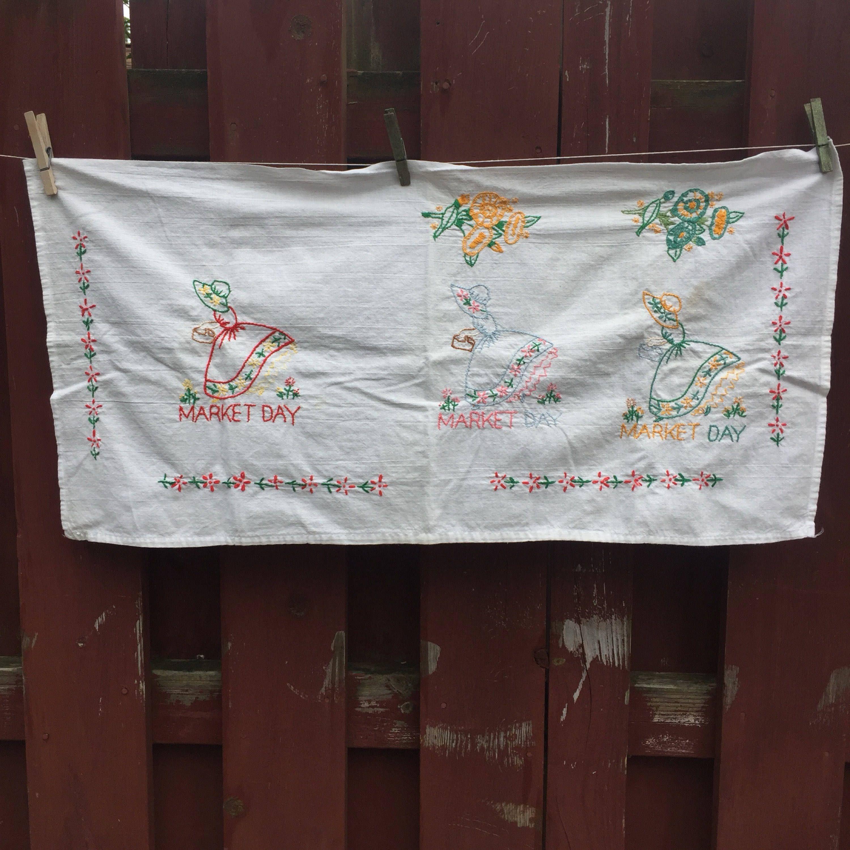 Hello SunshineTea Towel Bundle, Embroidered Tea Towels, kitchen dish towels,  flour sack towels